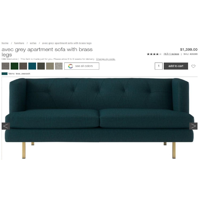 CB2 Avec Peacock Apartment Sofa w/ Brass Legs-4