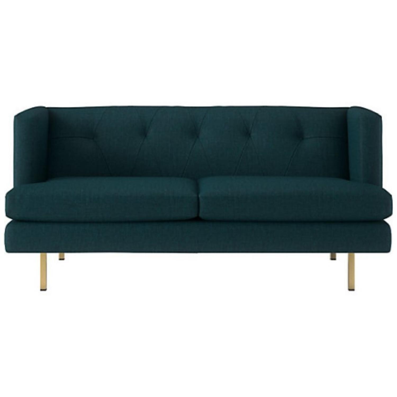CB2 Avec Peacock Apartment Sofa w/ Brass Legs