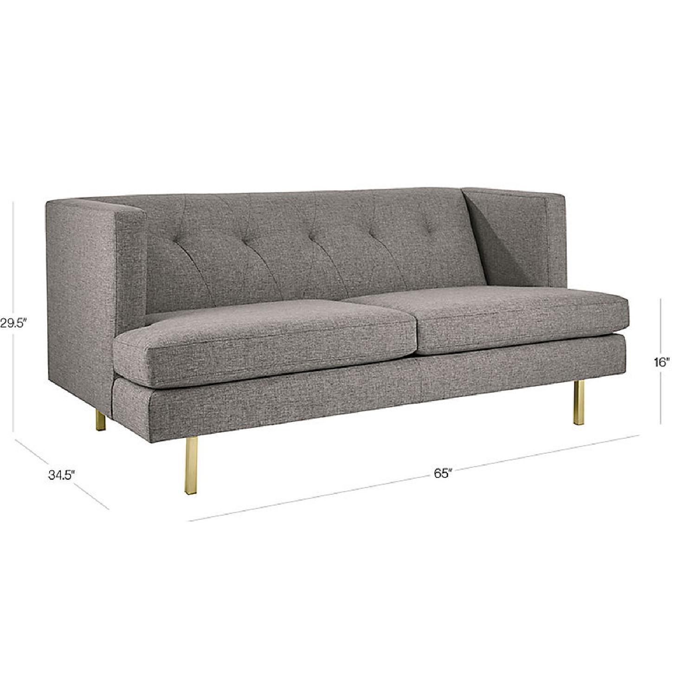 CB2 Avec Peacock Apartment Sofa w/ Brass Legs-5