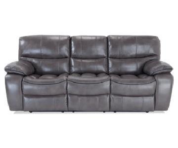 Bob's Grey Power Reclining Sofa