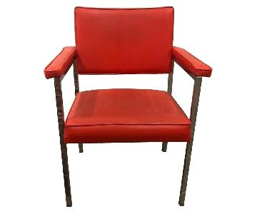 Mid Century Red Leather Chair w/ Chrome Legs