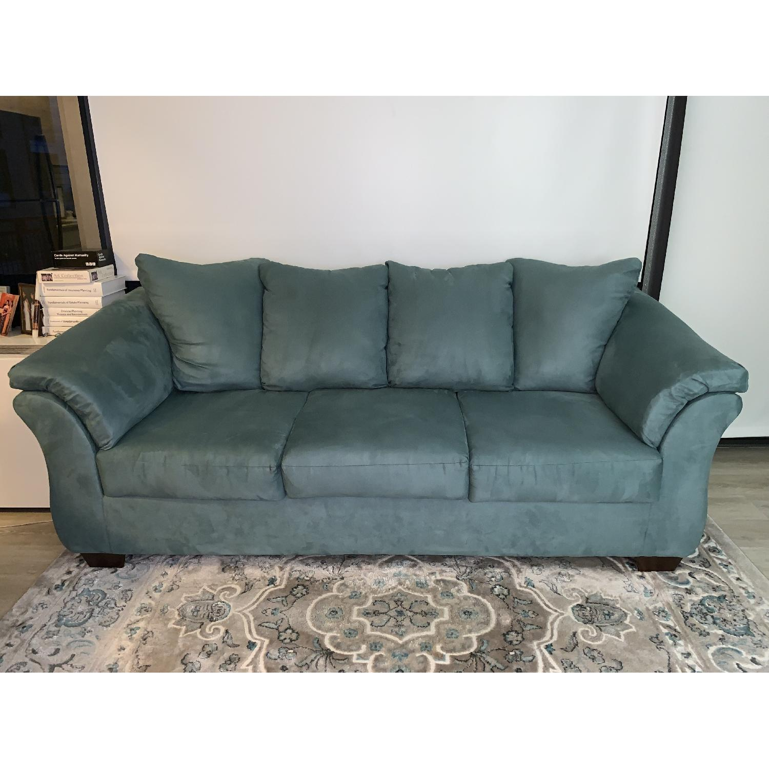 Sky Blue Upholstered Sofa-0