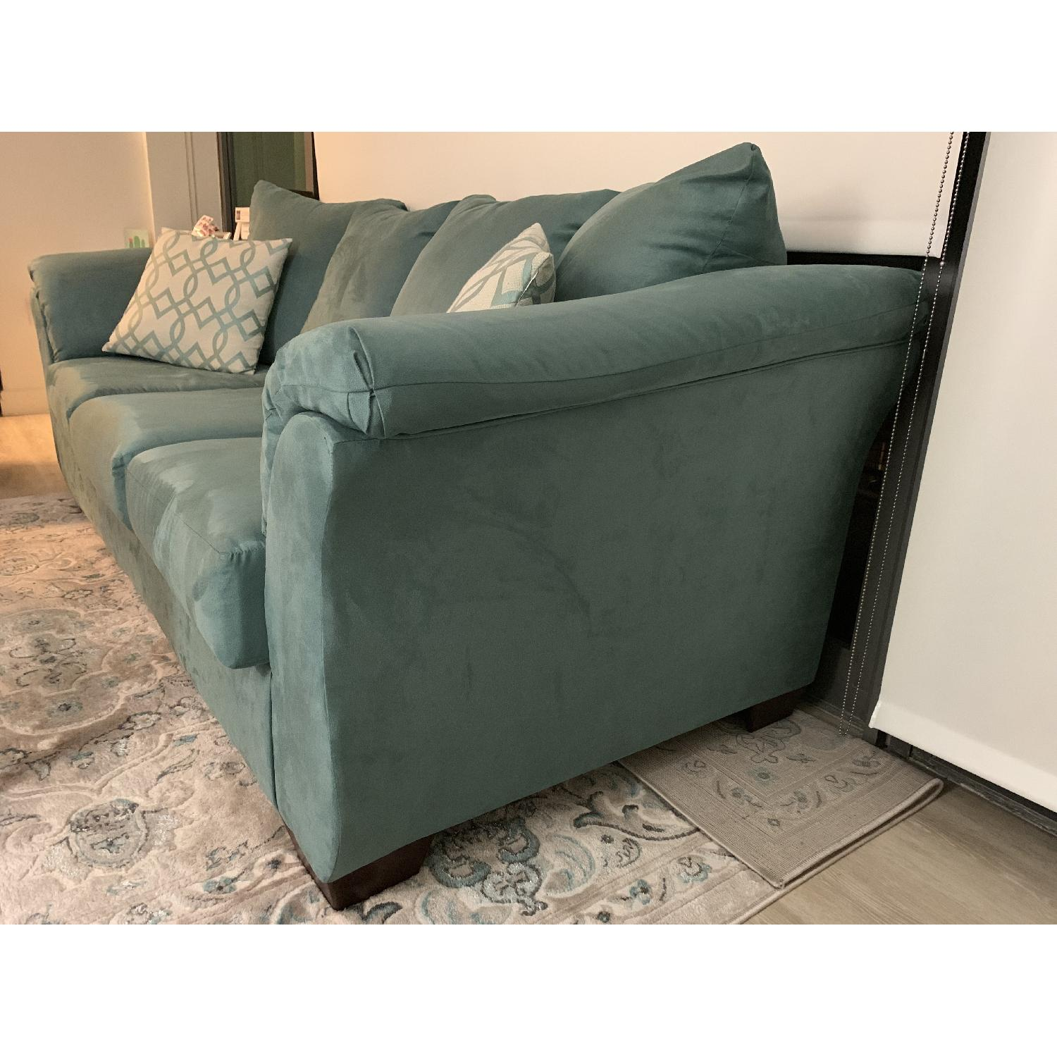 Sky Blue Upholstered Sofa-2