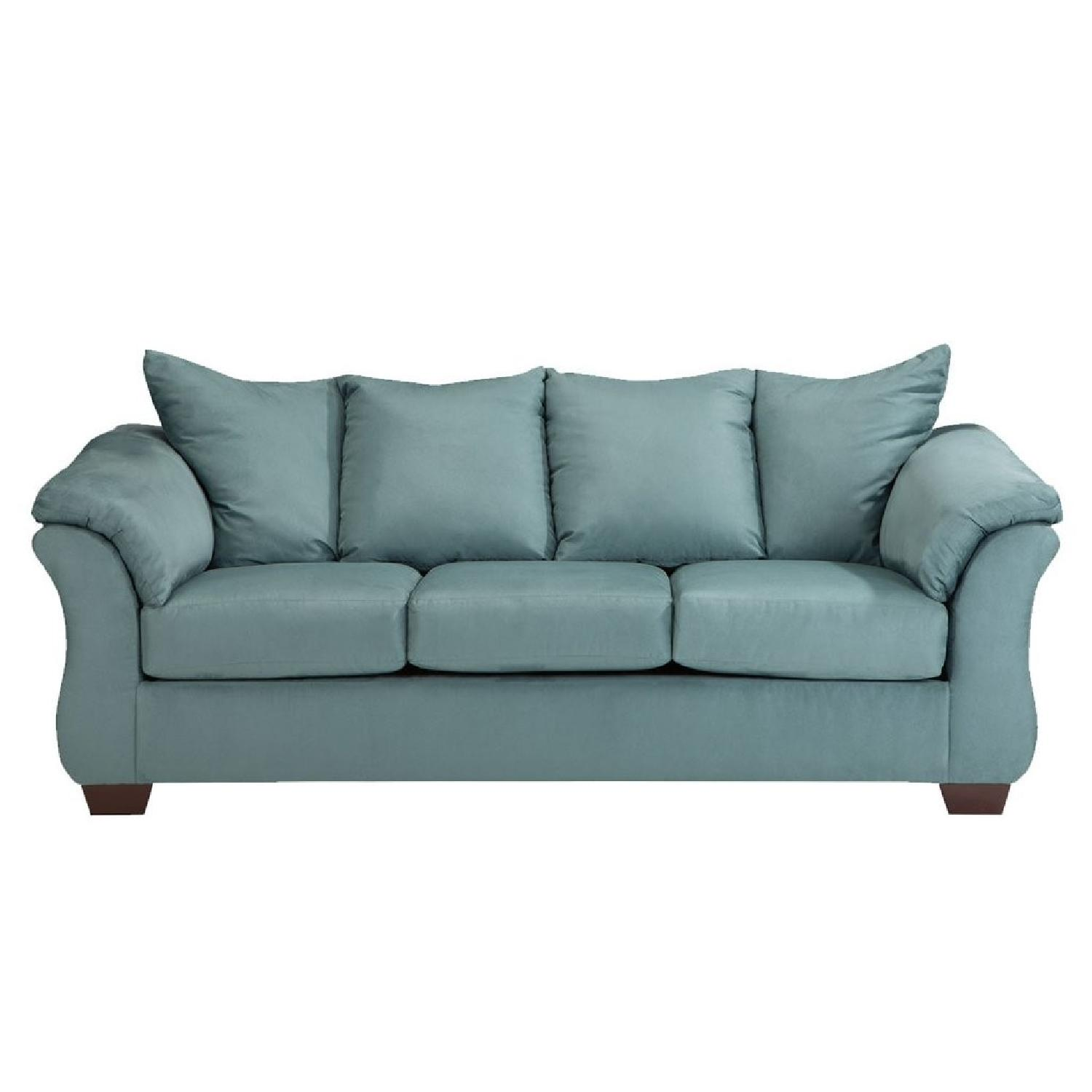 Sky Blue Upholstered Sofa