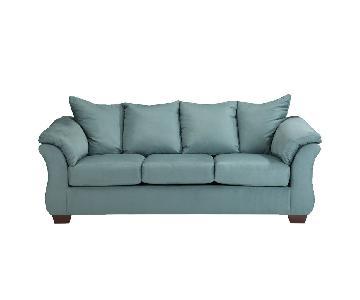 Sky Blue Upholstered Sofa