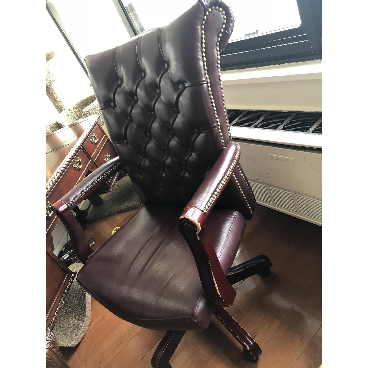 Leather Tufted Studded Office Chair-1