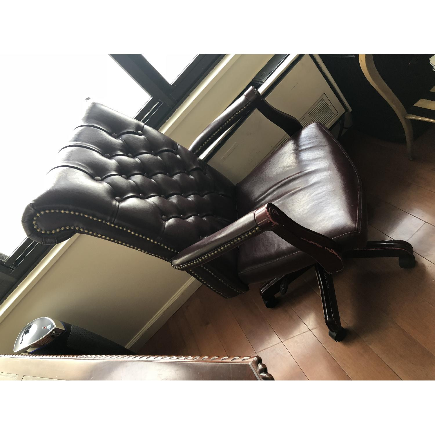 Leather Tufted Studded Office Chair-3