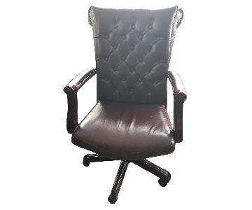 Leather Tufted Studded Office Chair
