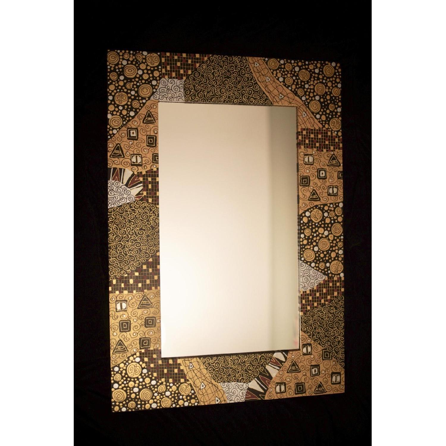 Ten Thousand Villages Gold Patterned Mirror-0