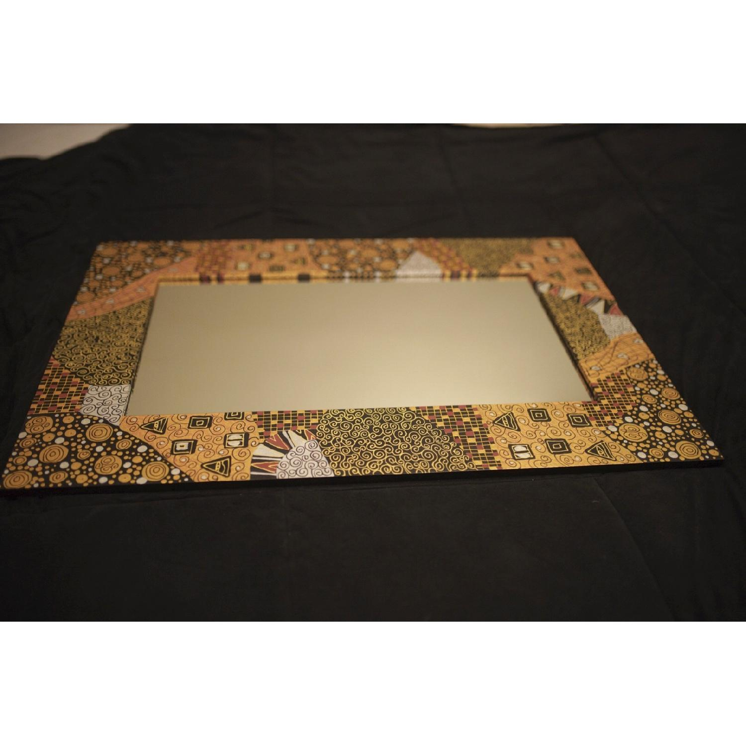 Ten Thousand Villages Gold Patterned Mirror-2
