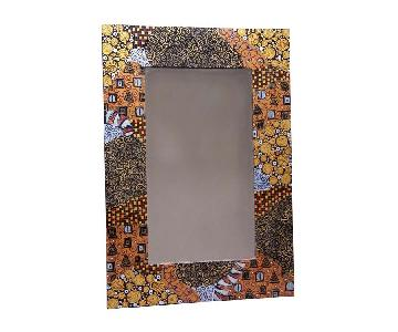 Ten Thousand Villages Gold Patterned Mirror