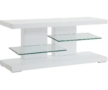 Glossy White TV Console w/ 2 Glass Shelves