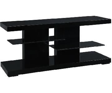 Glossy Black TV Console w/ 2 Glass Shelves