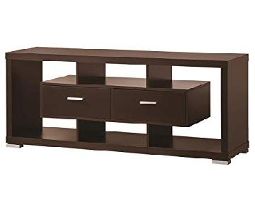 Cappuccino TV Console w/ 2 Drawers