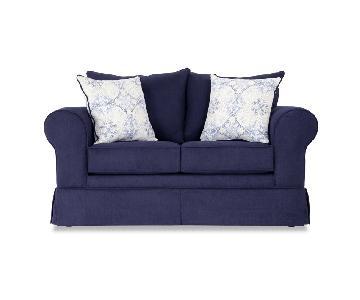 Bob's Blue Loveseat + Chair & Ottoman