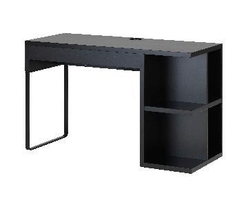 Ikea Micke E Black-Brown Desk w/ Shelves