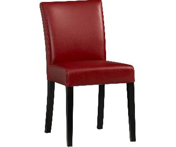 Crate & Barrel Lowe Red Leather Dining Chairs
