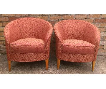 Oval Shape Rose & Tan Diamond Print Fabric Chairs