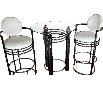 Glass Top Bar Table w/ 2 Stools