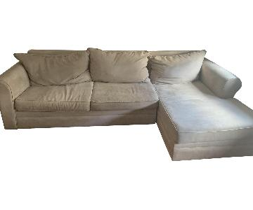 Beige Fabric 2-Piece Sectional Sofa