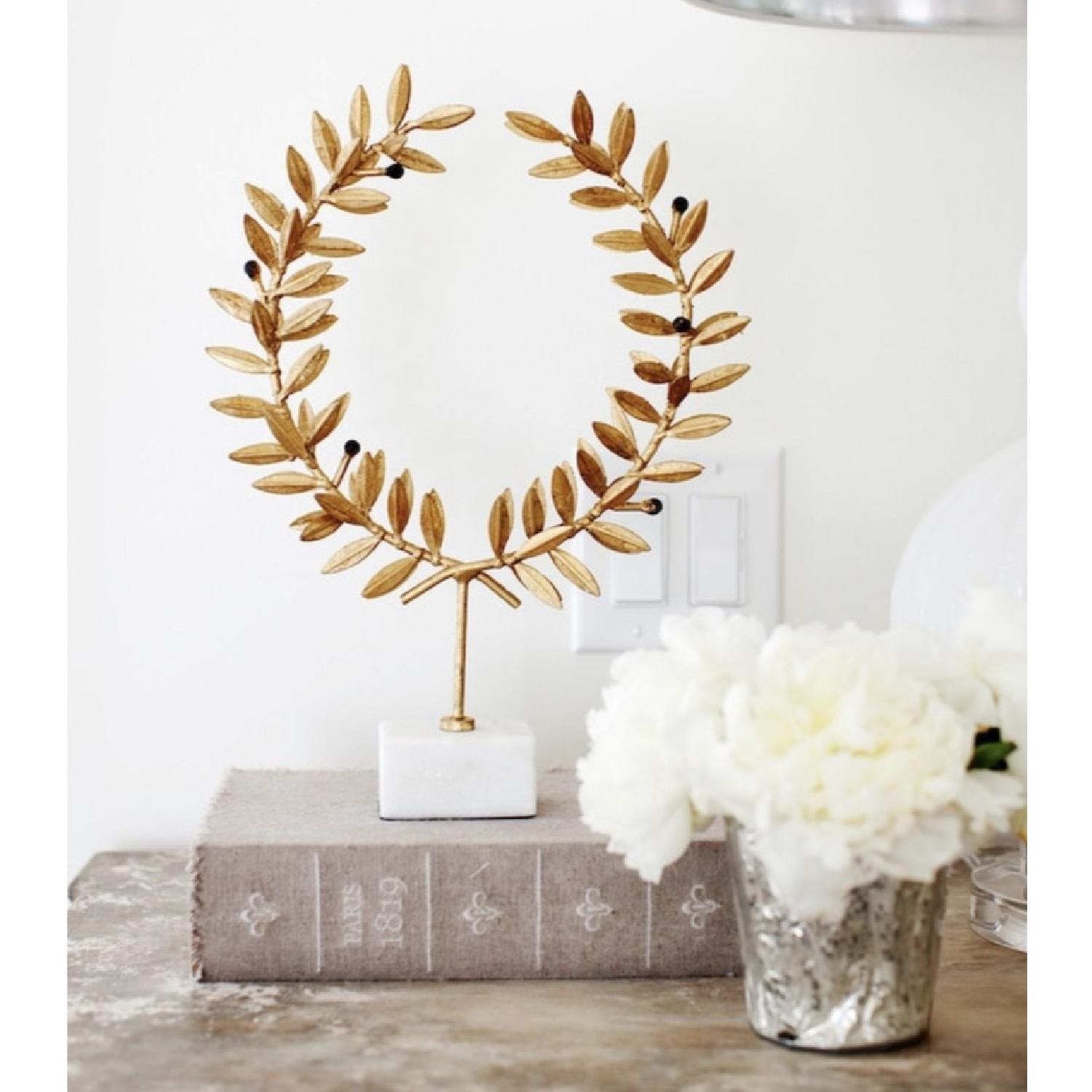 Gold Olive Leaf Wreath On Marble Stand-0