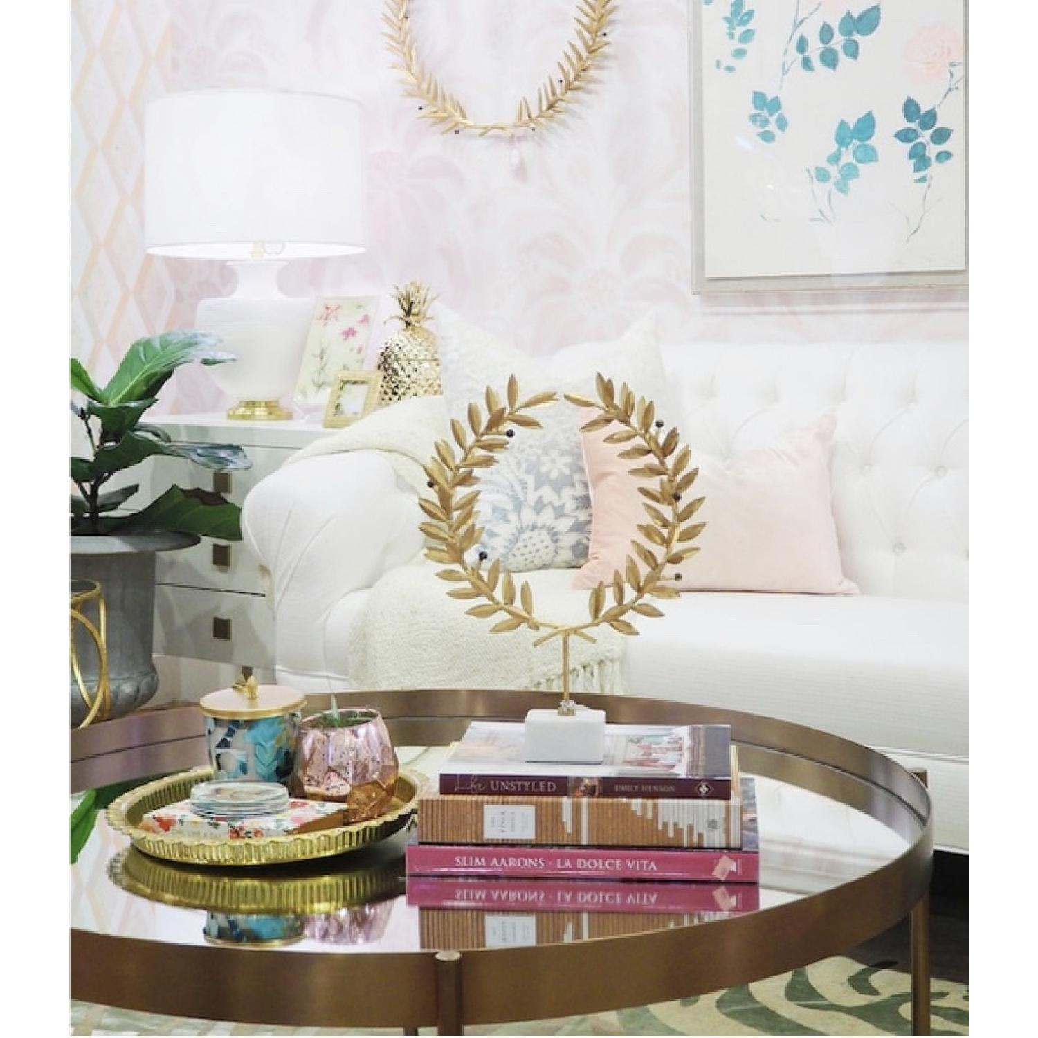 Gold Olive Leaf Wreath On Marble Stand-1