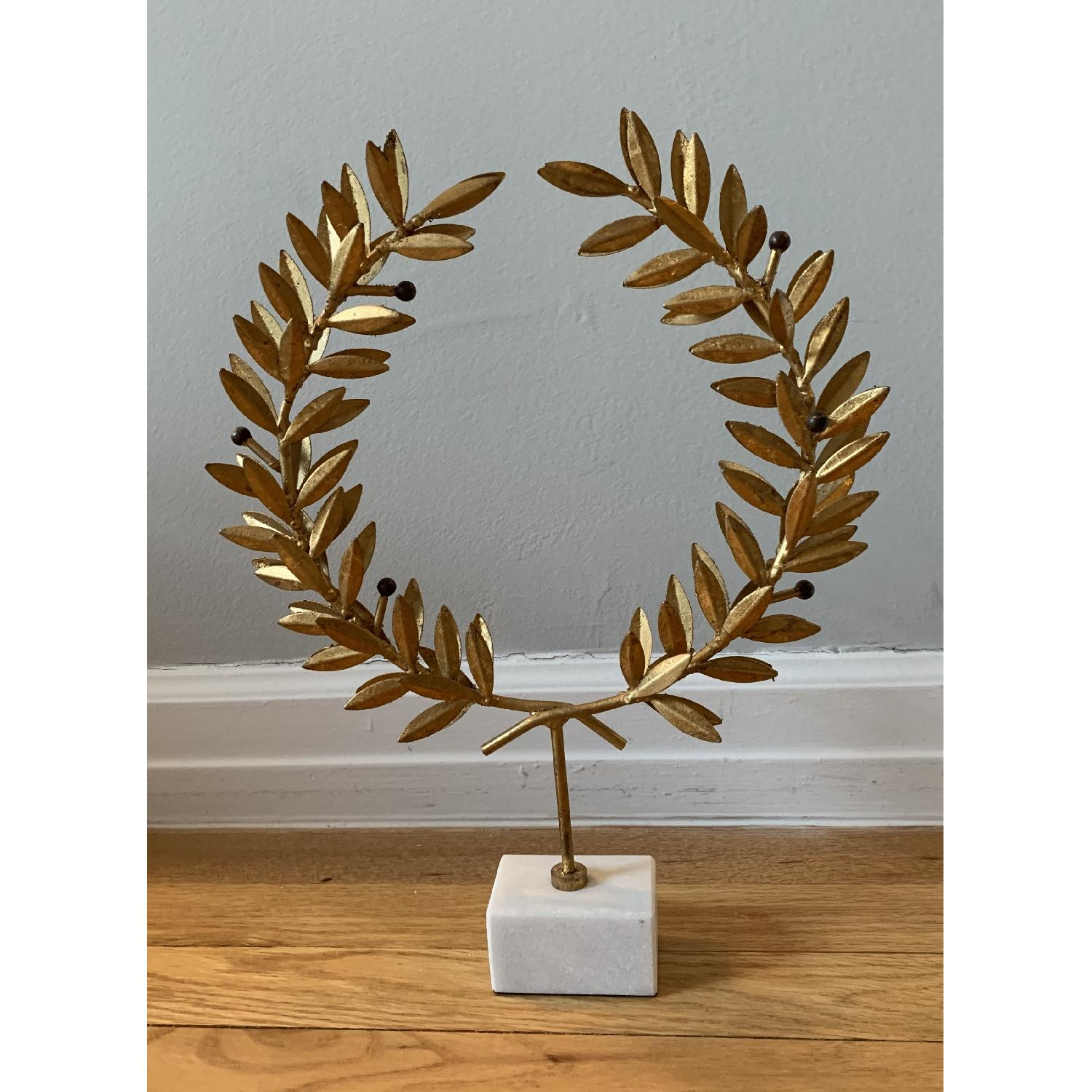 Gold Olive Leaf Wreath On Marble Stand-2