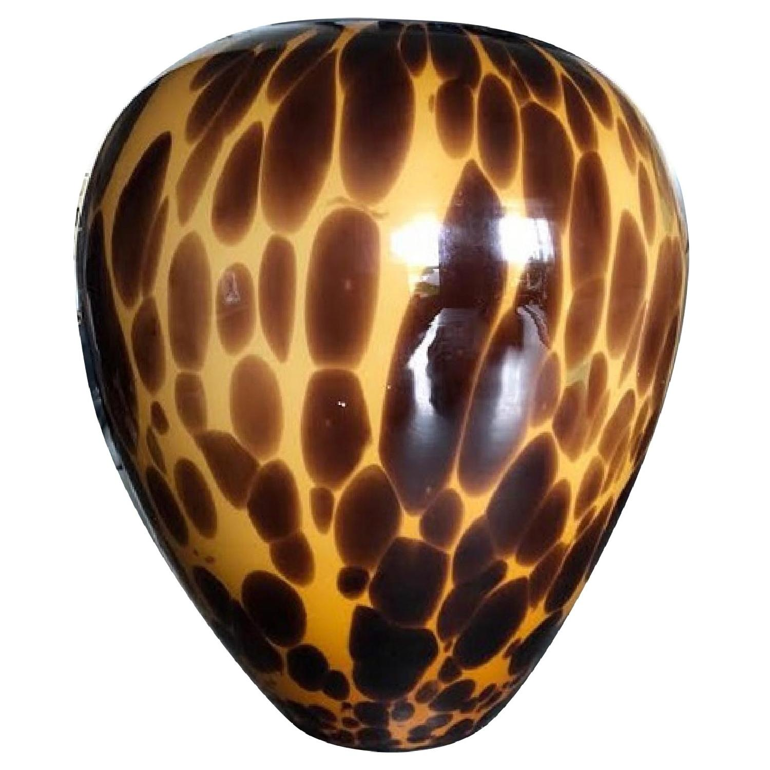 Vintage Hand Blown Tortoise Shell Glass Vase