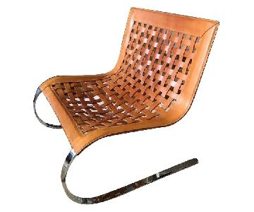 DDC Woven Leather Canitlever Chair on Chrome Base