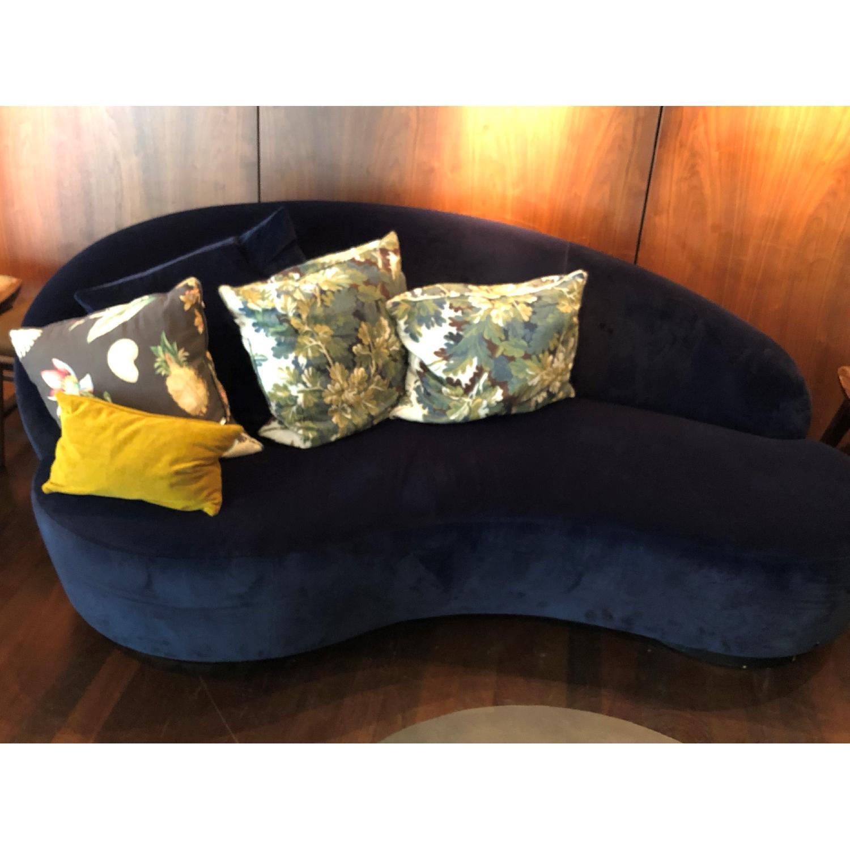 Custom Blue Suede Curved Sofa-0