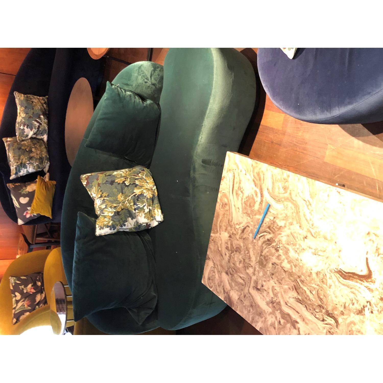 Custom Blue Suede Curved Sofa-2