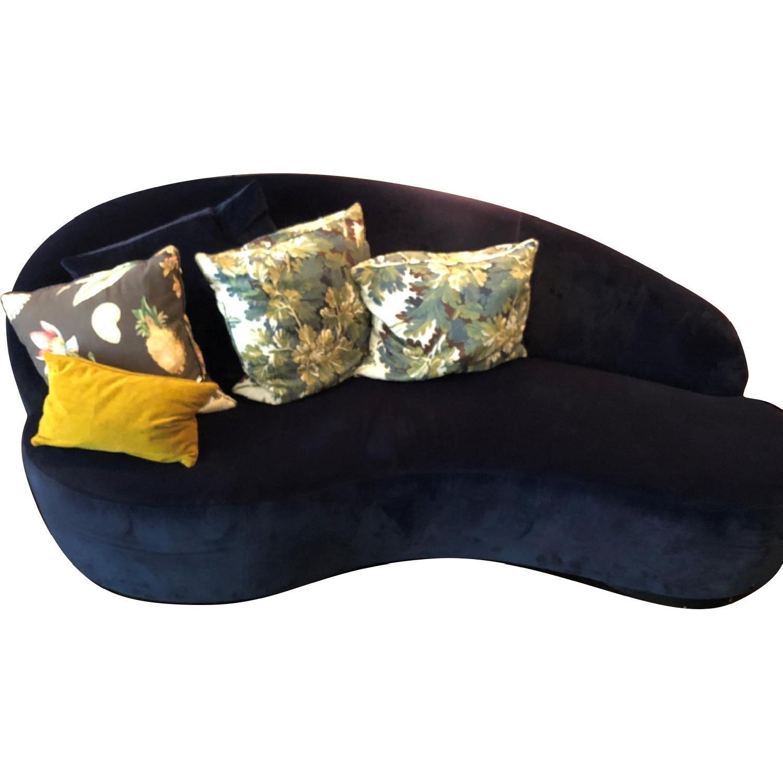 Custom Blue Suede Curved Sofa