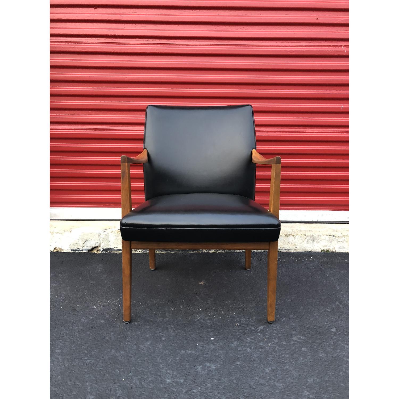 Gunlocke Mid Century Modern Walnut & Black Vinyl Chair-0
