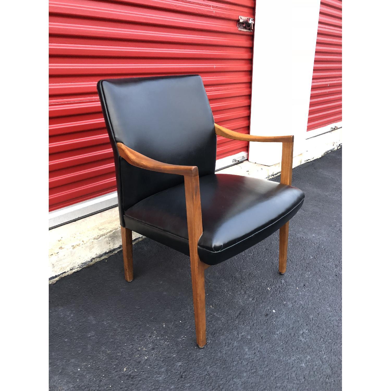 Gunlocke Mid Century Modern Walnut & Black Vinyl Chair-1