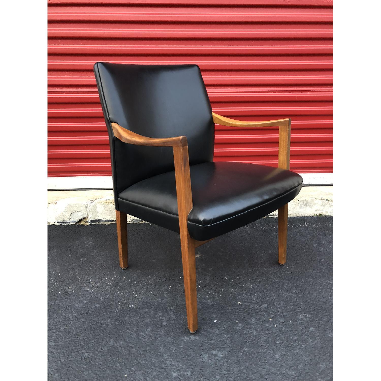 Gunlocke Mid Century Modern Walnut & Black Vinyl Chair-2