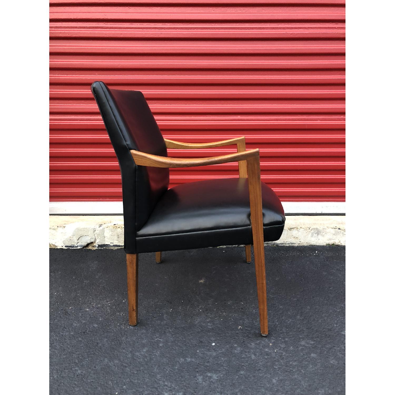 Gunlocke Mid Century Modern Walnut & Black Vinyl Chair-4