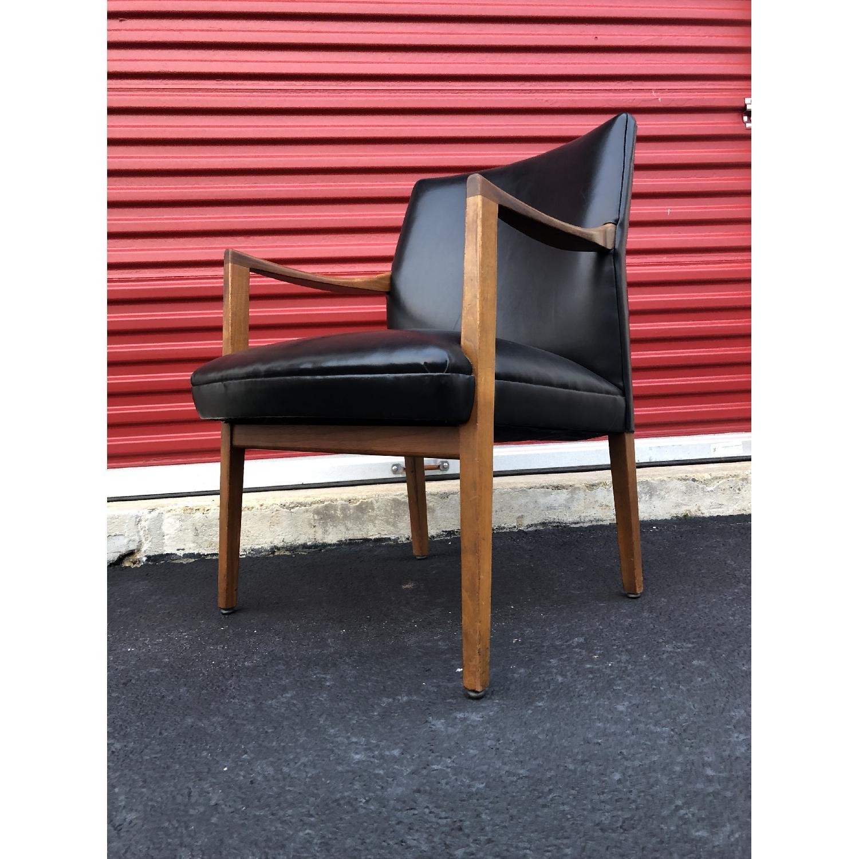 Gunlocke Mid Century Modern Walnut & Black Vinyl Chair-5