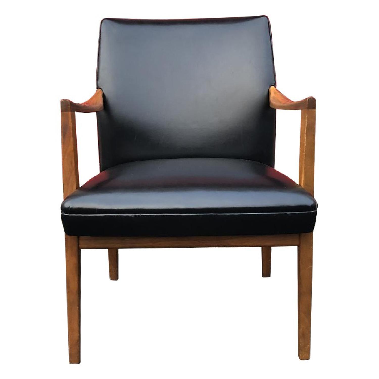 Gunlocke Mid Century Modern Walnut & Black Vinyl Chair
