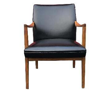 Gunlocke Mid Century Modern Walnut & Black Vinyl Chair