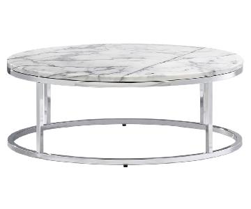 CB2 Smart Round Marble Coffee Table