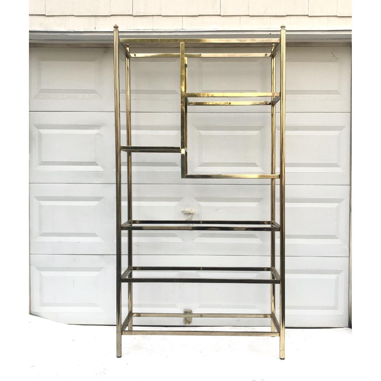 Vintage Brass & Glass Etagere Bookcase-6
