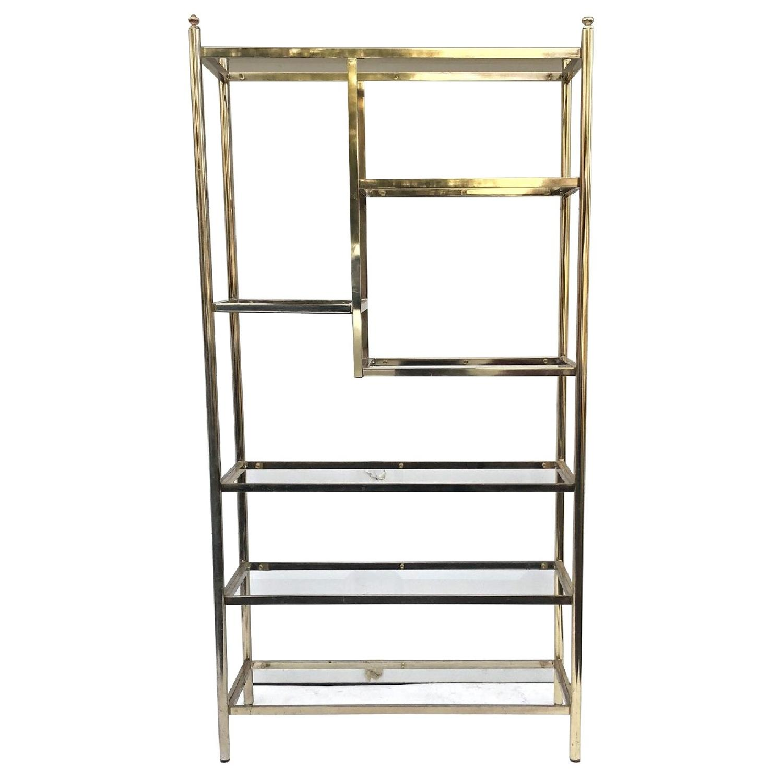 Vintage Brass & Glass Etagere Bookcase