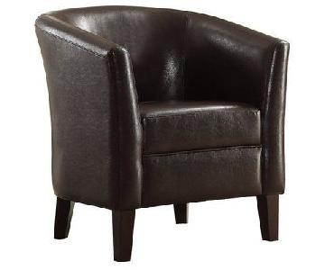 Infini Modern Accent Chair in Dark Brown Faux Leather