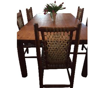 Jackson Hole Handcrafted Lodgepole Pine Table w/ 5 Chairs
