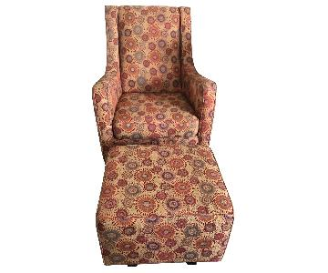 Klaussner Furniture Swivel Rocking Accent Chair & Ottoman