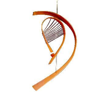 Vintage 1960s Bent Wood Hanging Harp Mobile