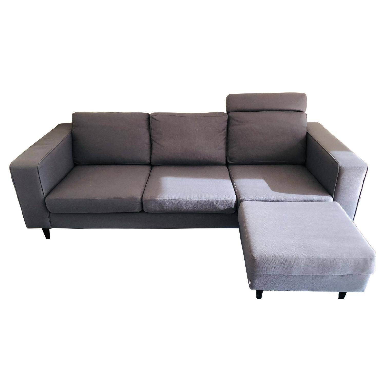BoConcept Dark Grey Sectional Sofa w/ Headrest & Ottoman