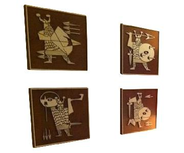 Danish Modern Molded Burwood Viking 4-Piece Wall Art