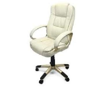 Leather Executive Office Desk Chair in Beige/Gold