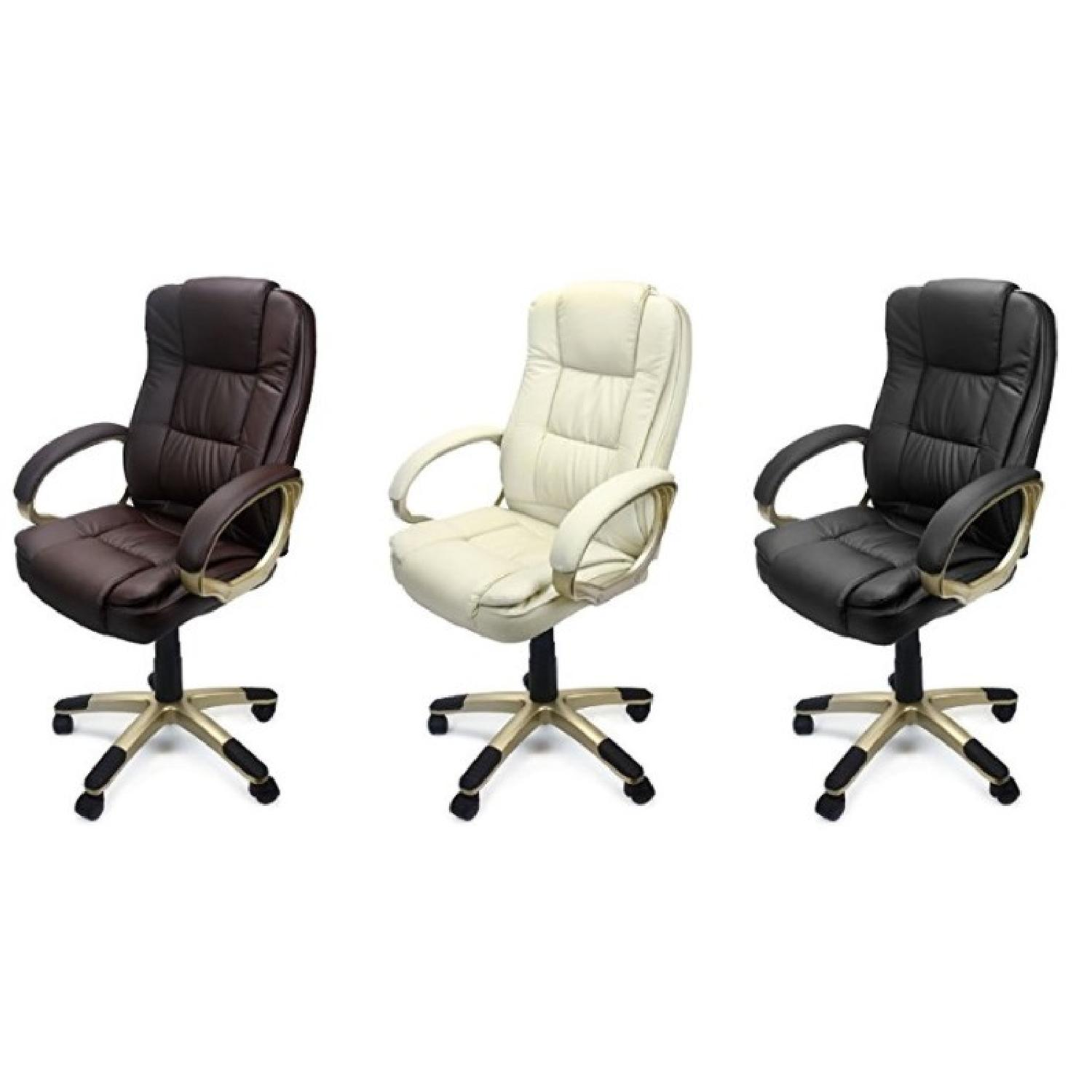 Leather Executive Office Desk Chair in Beige/Gold-0